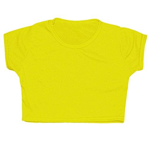 Yellow Neon Dress (New Tween Kids Girls Neon Fluorescent Plain Short Sleeves Crop Belly Tops Dance Wear Gymnastic Fancy Dress AGE: 5 6 7 8 9 10 11 12 13 YEARS (11-12, Neon)