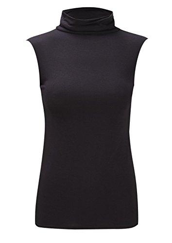 (WearAll Women's Plus Size Turtle Neck Sleeveless Top - Black - US 20-22 (UK 24-26))
