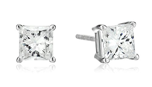 14k-White-Gold-Princess-Cut-Diamond-Screw-Back-and-Post-Stud-Earrings-2cttw-H-I-Color-I2-Clarity