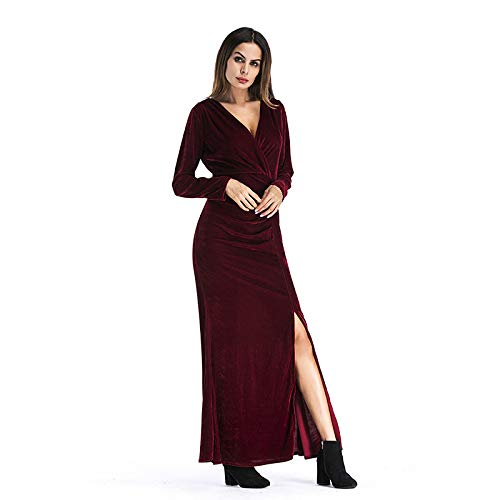 LYQTONG European and American Long Skirt Solid color Deep V High Waist Long Sleeve Split Skirt Skirt Dress, Red, L