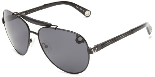 True Religion Sunglasses Brody Aviator Sunglasses,Shiny Black,61 - Downey Robert Sunglasses