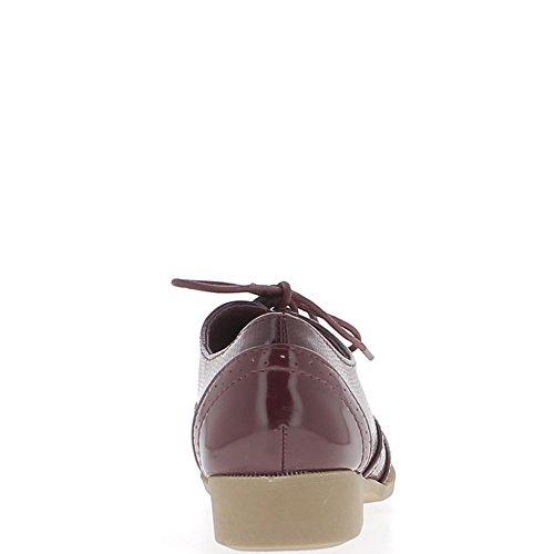 Richelieux Bordeaux con materiale bi 3cm e lacci di nastro twill