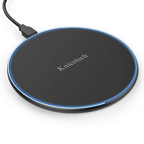 Knicetech 10W Fast Wireless Charger Schnelles Qi Induktions Ladegerät, Ladestation für iPhone X /8/8 Plus, Samsung Galaxy S9 /S8 /S8 Plus /S7 /Note 8 /Note 5 und Alle Qi-fähige Geräte