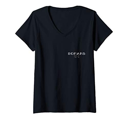 Womens Transformed By Renewing of the Mind Romans 12:2 Bible Verse V-Neck T-Shirt