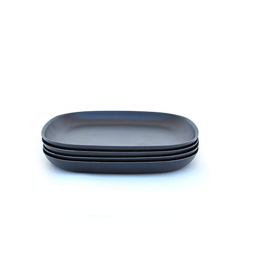 Resin Charger Plate - EKOBO Bamboo 11'' Dinner Plate Set, Service for 4, BIOBU Eco-material, Indoor/Outdoor dining, Black