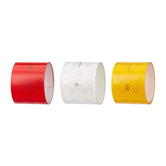 SIGNAGE 3m High Intensity Reflective ECE 104 Compliant Government Approved Tape 2 inch x 2 Ft White, Red and Yellow