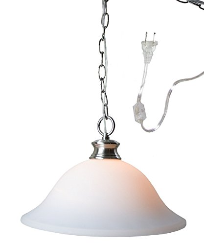 Glass Shade Swag Lamp Brushed Nickel ()