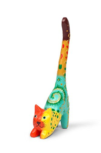 Ten Thousand Villages Cute Hand Painted Albesia Wood Cat Ring Holder 'Krazy Kitty Ring Holder' ()