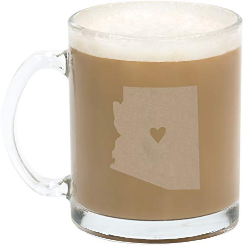 About Face Designs Arizona Silhouette Frosted State on Clear 10.5 oz. Glass Mug Set of 2