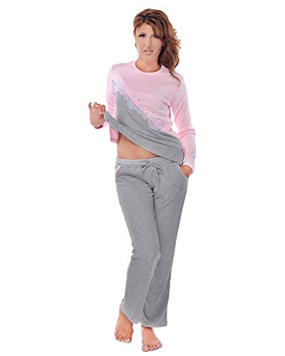 Leo Fashion Pijama Set manga larga y pantalones largos rosa y gris