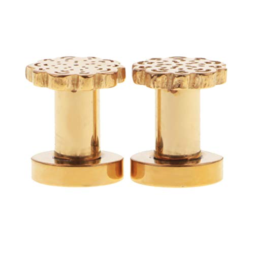 1 Pair Ear Plugs Stretcher Expander Tunnels Ear Gauges Piercing Jewelry 3-12mm (Color - Gold 4mm)