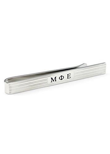 Mu Phi Epsilon Tie Clip with Black Enameled Greek Letters Fraternity, Greek Mens Jewelry Tie Bar - Phi Mu Fraternity