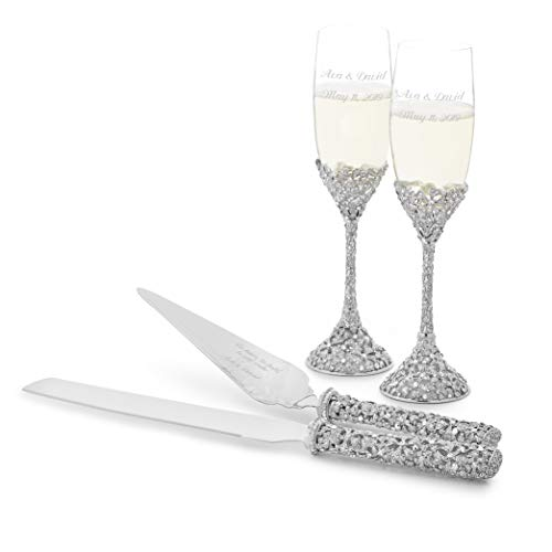 Wedding Flutes Cake Servers - Things Remembered Personalized Crystal Bouquet Wedding Set with Engraving Included