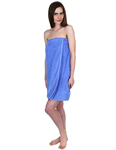 TowelSelections Women's Wrap, Shower & Bath, Terry Spa Towel Large Cornflower ()