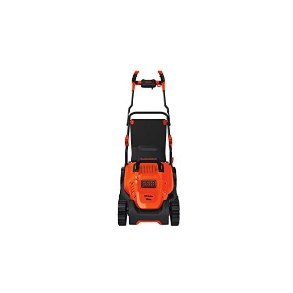 BLACK+DECKER Electric Lawn Mower, 10 -Amp, 15-Inch (BEMW472BH) 2 IMPROVED ERGONOMICS: Comfort grip handle makes the lawn mower easy to maneuver BETTER CLIPPING COLLECTION: Our winged blade achieves 30% better clipping collection NO MORE PULL CORDS: Push-button start makes starting the lawn mower a breeze