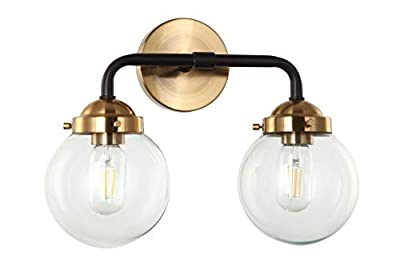 E-Like Original Industrial Sconce lamp with 2 Lights,Clear Glass Shade,E26 60W Bulb,Oiled Bronze and Satin Gold Finish,H11.4''W15.4'',Sconce for Bedroom