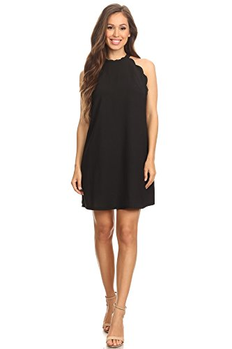 - Via Jay Women's Solid Sleeveless Loose Casual Comfy A-Line Short Dress (Black, Large)