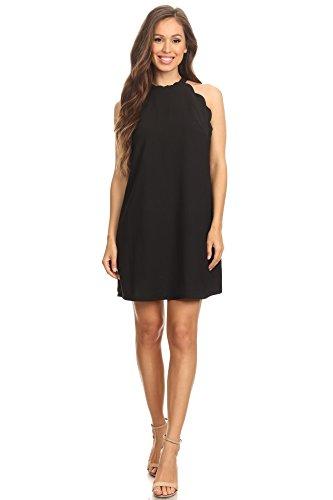 - Via Jay Women's Solid Sleeveless Loose Casual Comfy A-Line Short Dress (Black, Medium)