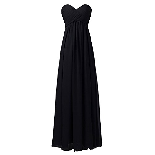 Lemai Sweetheart Pleats Long A Line Corset Formal Women Prom Bridesmaid Dresses Black US24W
