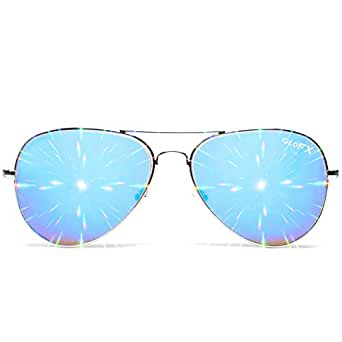 GloFX Men's Metal Pilot Aviator Style Diffraction Glasses One Size Fits All Silver Blue