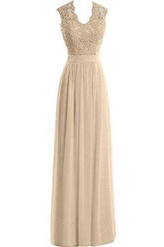 Partykleid U Abendkleid Missdressy Lang Applikation Elegant Ausschnitt Neu Chiffon Damen Champagner Spitze Aemellos PqpST