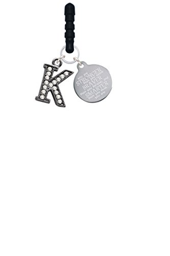 Price comparison product image Crystal Black Initial - K - Beaded Border - Stronger Braver Smarter Phone Charm