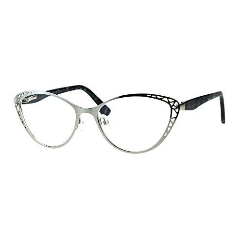 Womens Metal Rim Cat Eye Diecut Deco Powered Reading Glasses Silver 2.5