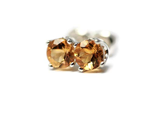 Natural Golden Citrine AAA Grade and Sterling Silver November Birth Month 5mm Stud Earrings