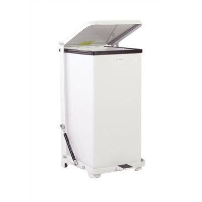 Rubbermaid Commercial FGQST40EWPLWH The Silent Defenders Steel Wheeled Step Trash Can, Square with Plastic Liner, 40-gallon, White ()