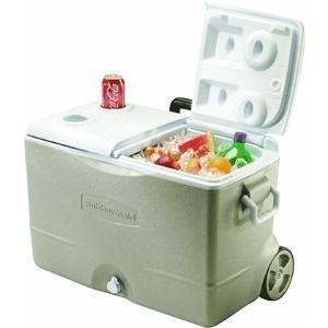 Rubbermaid DuraChill Wheeled 5-Day Cooler, 50 Quarts, Seashell Tan FG2A9200PMTL ()