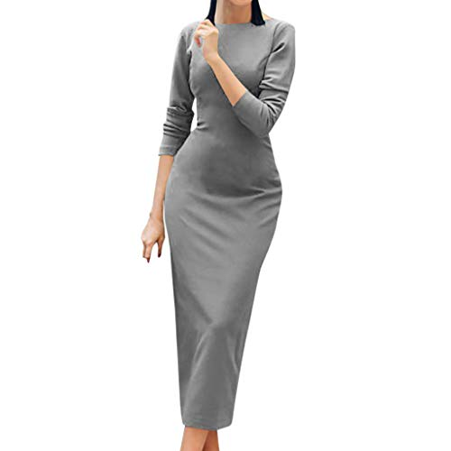 TIFENNY Sexy Fishtail Wrap Skirt for Womens Long Sleeve Backless Maxi Evening Cocktail Party Bodycon Solid Dress ()