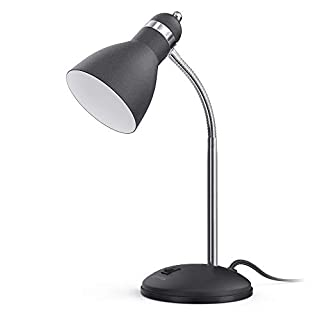LEPOWER Metal Desk Lamp, Eye-Caring Table Lamp, Study Lamps with Flexible Goose Neck for Bedroom and Office (Sandy Black)