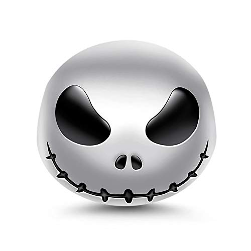 "GNOCE ""Jack Skull 925 Sterling Silver Skull Beads Charms for Bracelets Necklace Birthday Halloween Jewelry for Women Gift"