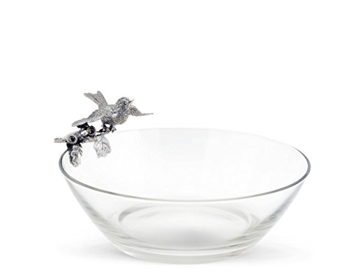 Vagabond House Pewter Song Bird on Glass Serving Bowl 10' Wide x 5.5' Tall