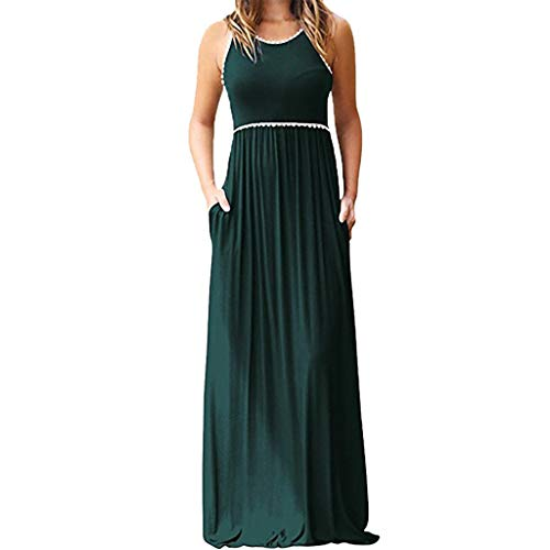 Gillberry Women's Casual Loose Long Dress Short Sleeve Print Split Maxi Dresses (Belted Tweed Belt)