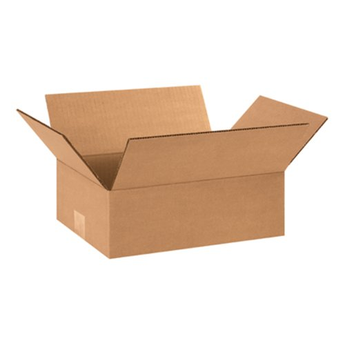 "Aviditi 1294 Flat Corrugated Box, 12"" Length x 9"" Width x 4"" Height, Kraft (Bundle of 25)"