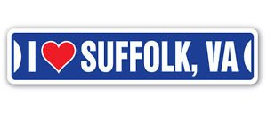 Suffolk Door - I LOVE SUFFOLK, VIRGINIA Custom Sticker Decal Wall Window Door Art Vinyl Street Signs - 8.25