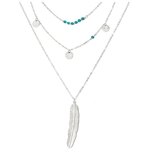 (Suyi Exquisite Sequins Multilayer Chain Turquoise Beads Necklace with Feather Pendent Silver)