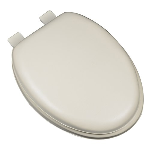 - Bath Décor 6F1E2-01 Premium Soft Elongated Closed Front Toilet Seat with Extra Heavy Duty Solid Wood Core, Bone