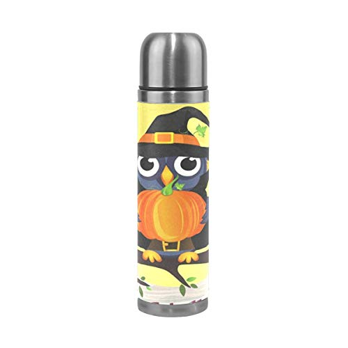 (Water Bottle Halloween Owl in Witch Costume with Pumpkin Sports Insulated Stainless Steel Water Bottles Leak Proof Double Wall Thermos Leather Cover 17)