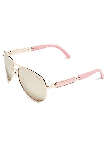 GUESS Women's Metal Aviator Sunglasses, 28G, 60 ()