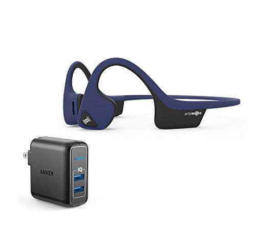 AfterShokz Trekz Air Wireless Bluetooth Headphones Bundle with Dual Port 24W USB Travel Wall Charger - Midnight Blue