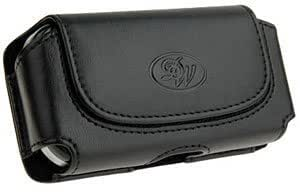 Bloutina Black Leather DW Case Pouch For Samsung Rugby Smart
