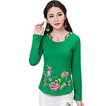 6ed74c38a Brand Spring Plus Size Women Blouse Shirt Cotton Fashion Embroidery Blusas  Feminina Pullover Quality Body Tops Tee Clothing Color Style Sixteen Size  L: ...