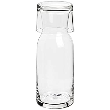 Bormioli Rocco Aquaria Bedside Carafe with Tumbler, 27-1/2-Ounce, Gift Boxed, Clear