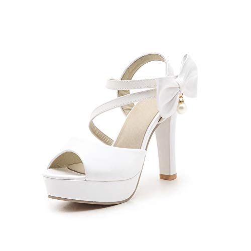 Femme Blanc SLC04370 Ouvert 36 Bout Blanc 5 AdeeSu q1TvZw