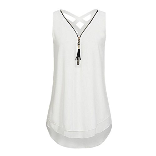 Women Loose Sleeveless Tank Top Cross Back Hem Layed Zipper V-Neck T Shirts Tops