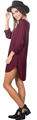 U-shot–Camisa de cuello redondo Irregular Tops Casual Business de cóctel vestido de Swing granate