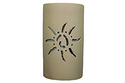 """Indoor Outdoor Decor Hanging Wall Lights with LED Bulbs. - 14"""" Tall Open top Half Round Wall Sconce w/Ancient Sun Center Cut Design. Tan Solid Color Finish"""