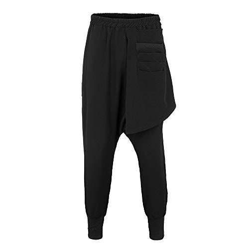 Casual Deporte hop Puro Perneras Con Hip Estilo Lápiz Color Ocio Liso Hombre Recto Pantalones Moda Elástico Corte Negro Haren Rectas XqZTna0xE